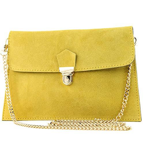 modamoda de - T206 - ital. Clutch aus Wildleder mit Goldkette, Farbe:Gelb