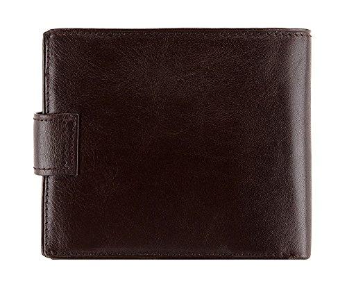 WITTCHEN Geldbörse aus Rindsleder | Kollektion: Arizona | mit Druckknopfverschluss | aus hochwertigen Materialien | elegant und klassisch | Dunkelbraun | 12x10 cm