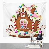 Y·JIANG Tapiz de colores para decoración de casa de pueblo con forma de pastel festivo, decoración de Navidad y pan de jengibre para el hogar, para dormitorio, 152 x 127 cm