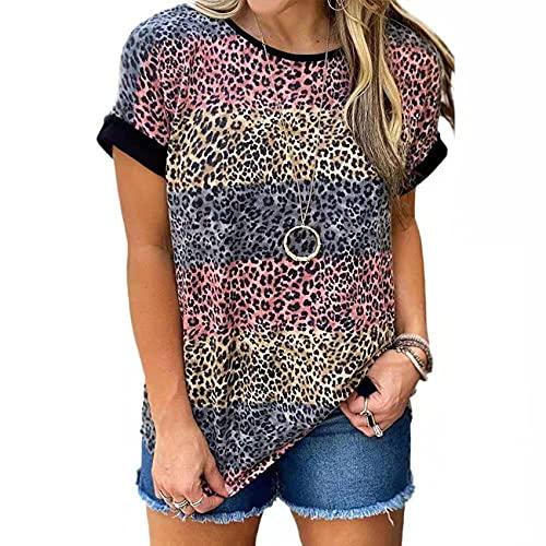 Verano Nueva Ropa Suelta para Mujer Estampado de Leopardo Cuello Redondo Camiseta de Manga Corta Top