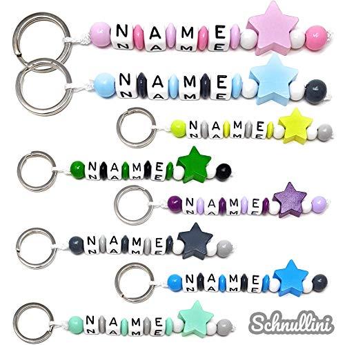 Schlüsselanhänger mit Namen Gravur beschriftbar | Baby Kind Kindergartentasche Schultasche Rucksack Schlüsselring mit Name Namensanhänger | FARBMIX Stern Mädchen Junge (Farbmix)