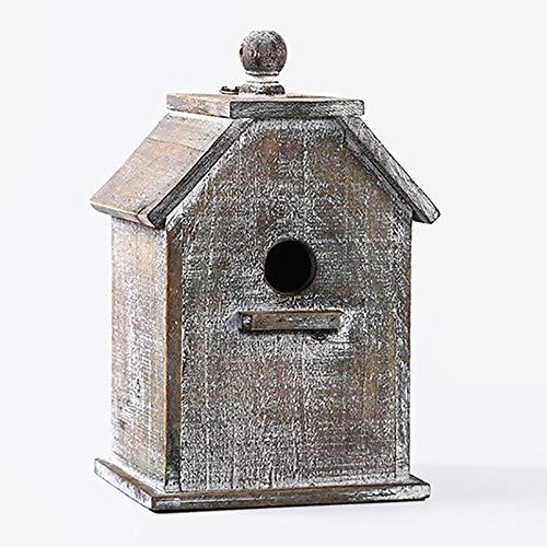 Vogelhuisje Buiten Houten Bird House, Ventilatie Opknoping Huis Van De Vogel For Kleine Vogel Chickadees Mussen Open Lucht Decoratieve Tuin (Color : Natural, Size : 21.5X17X33CM)