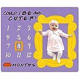 Eunikroko Friends Show Baby Monthly Milestone Blanket Nursery Blanket with Frame 1 to 12 Monthly Photo Blanket for Newborn Baby Girl Soft Plush Fleece