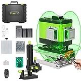 Huepar 3x360° レーザー墨出し器 グリーン 緑色 レーザー クロスライン 大矩 フルライン照射モデル 2電源方式 充電可能 接続アダプター リモコン 収納ケース付き【底部360°水平ライン】503DG