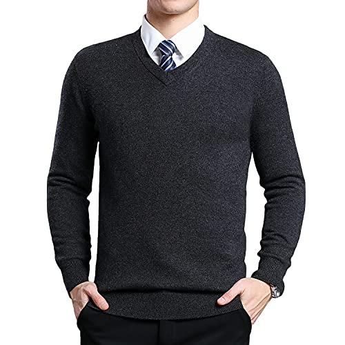 Yukirtiq Hombres mezcla de lana con cuello en V jersey de punto de manga larga Premium jersey de punto fino casual básico suéter superior, gris oscuro, XL