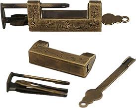 Koper-hangslot/puur koperen vintage retro grendel/oude deur hangslot-Buitendiameter 5 cm binnendiameter 3,2 cm