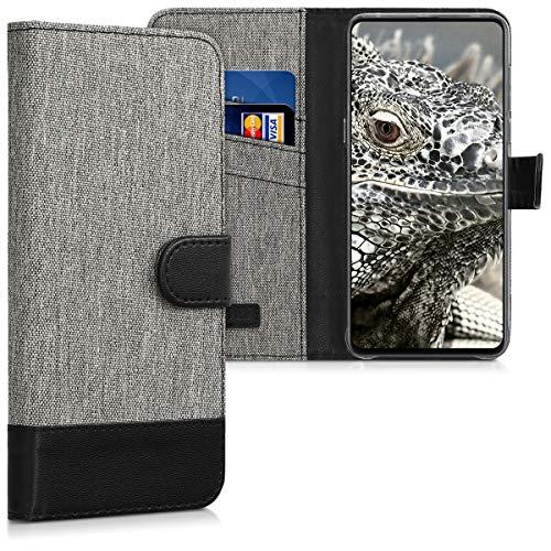 kwmobile Funda Compatible con Xiaomi Mi Mix 3 - Carcasa de Tela y Cuero sintético Tarjetero Gris/Negro