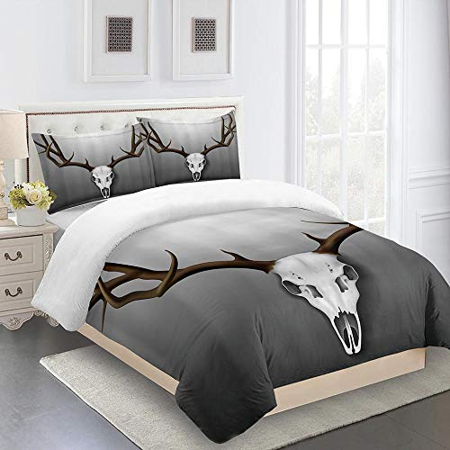 N / A Duvet Bedding Set With 3D Deer Skull 3D Printed Bedding Quilt Cover With Zipper Closure Kids Teens Adults Soft Microfiber 200X200Cm