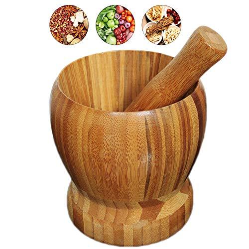 DaoRier Mörser mit Stößel aus Natürlich Bambus Handstampfer Schüssel für Gewürzmörser Knoblauchmörser Küchenmörser
