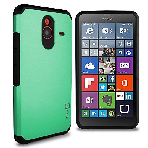 Lumia 640 XL Case, CoverON [Slim Guard Series] Slim Dual Layer Armor Hard Cover Thin TPU Phone Case for Microsoft Lumia 640 XL - Teal & Black