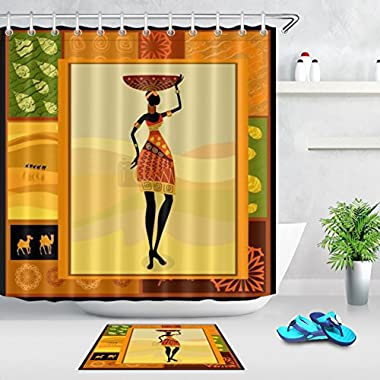 LB Black African Tribal Woman Pattern Print Africa Culture Design Shower Curtain Bath Rug Set, 70x70 Shower Curtain Waterproof Mildew Resistant, 15x23 Microfiber Surface Rug