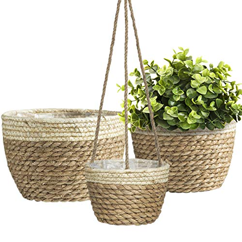 3pack Seagrass Farmhouse Planter Basket, Flower Pots for Plants Indoor Outdoor, Large House Plant...