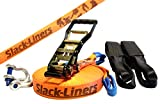 Slack-Liners 6 Teiliges Slackline-Set ORANGE - 50mm breit, 30m lang - mit Langhebelratsche Made in Germany