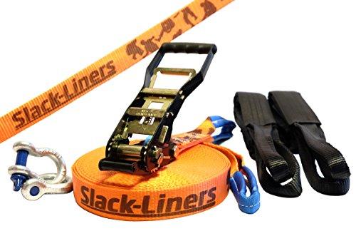 Slack-Liners 6 Teiliges Slackline-Set ORANGE - 50mm breit, 30m lang - mit Langhebelratsche Made in Germany