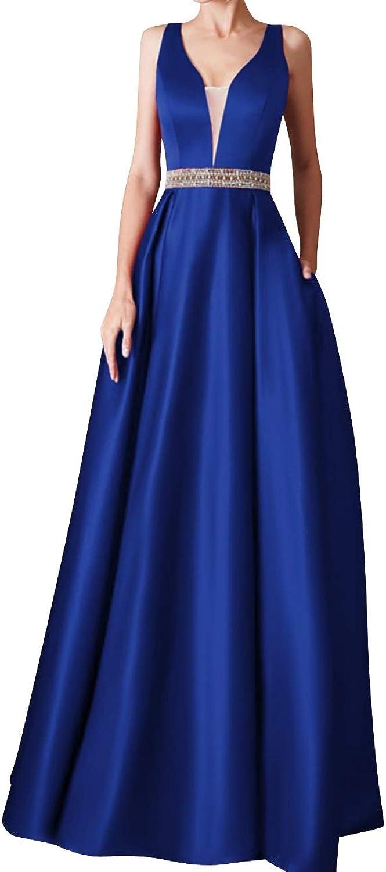 SUNFURA Women's Deep V Neck Beading Long Prom Evening Party Dress with Pockets