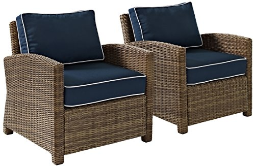Crosley Furniture KO70026WB-NV Bradenton Outdoor Wicker Arm Chairs (Set of 2), Brown with Navy Cushions