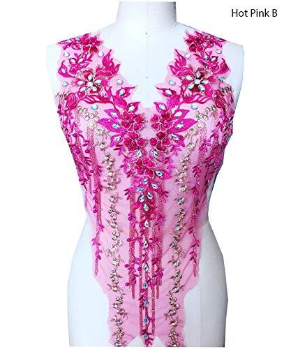 Kant Applique 3D Beaded Geborduurde Bloemen Strass Trim Patches Geweldig voor DIY Neckline Lichaam Bruiloft Bruidsjurk A2AB B Roze