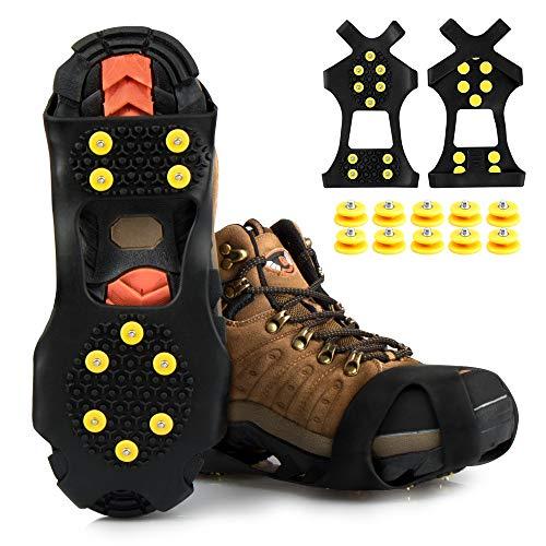 synmixx Tacos para zapatos, garras con 10 puntas de repuesto, antideslizantes, para nieve y hielo, para hombre y mujer, para nieve, hielo, senderismo, montañismo, 1 par/L