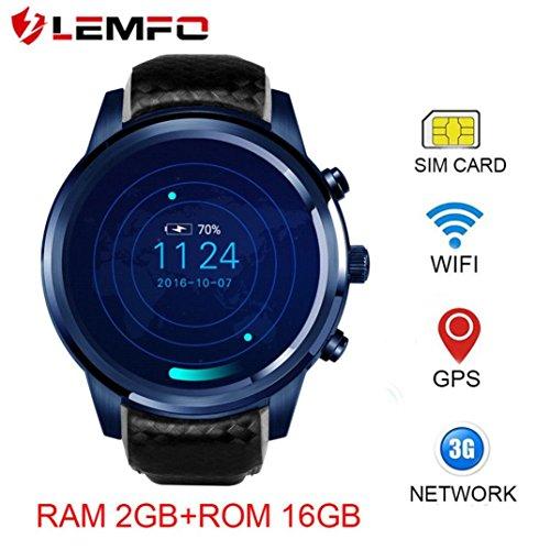 LEMFO 3G Smartwatch Telefon, LEM5 Pro - mit SIM Karten Slot Bluetooth Handy-Uhr, Android 5.1 (1.39 Zoll Quad Core 2GB / 16GB,GPS, WiFi,Kamera,MP3,G-Sensor,SMS) Colorful Ul