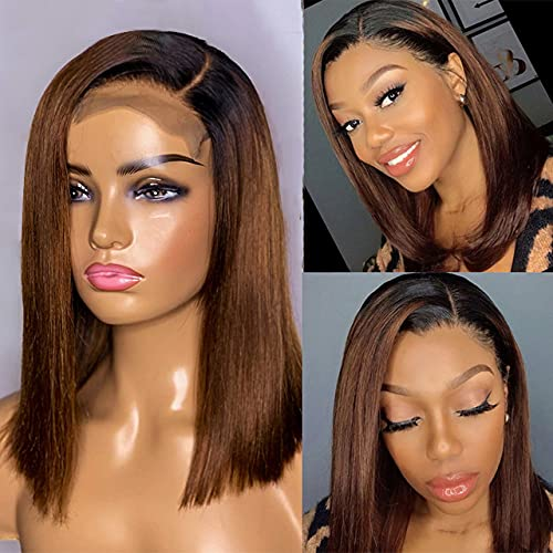 Derun Ombre Straight Bob 13×6 Lace Front Wigs Human Hair Short Bob Wig with Elastic Band 1b/4 Remy Hair For Women (1b/4, 10Inch)