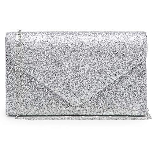 Women Glistening Evening Clutch Bags Formal Party Clutches Wedding Purses Cocktail Prom Clutches (Silver/Silver Hardware)