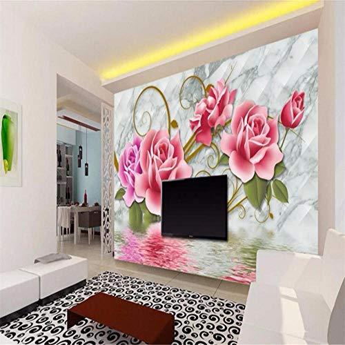 Fotobehang muur Muralscustom behang marmer gouden patroon Rose Tv achtergrond behang huisdecoratie woonkamer slaapkamer muurschilderingen 3D behang About 430*300cm 3 stripes
