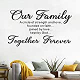 AnFigure Living Room for Wall Decals, Family Wall Decals, Quotes Scripture Home Art Decor Vinyl Stickers Our Family is A Circle of Strength and Love Founded On Faith Joined in Love Kept by God 28'x16'