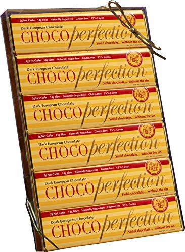 ChocoPerfection 1.8 oz. Sugar Free Dark Chocolate Bars - No Maltitol - Box of 12 Bars