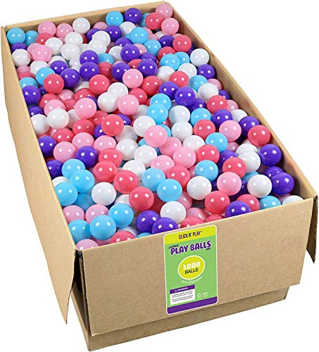 Click N Play Plastic Ball Phthalate Free Bpa Free Crush Proof Pit Balls 5 Bright Colors (Value Pack 1000 Balls )