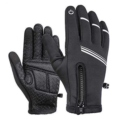 HIKENTURE Winter Cycling Gloves for Men and Women - Thermal Full Finger Bike Gloves - Touch Screen Windproof Warm Non-Slip Road Mountain Bicycle Gloves for Running,Driving,Hiking,and Skiing(Black M)