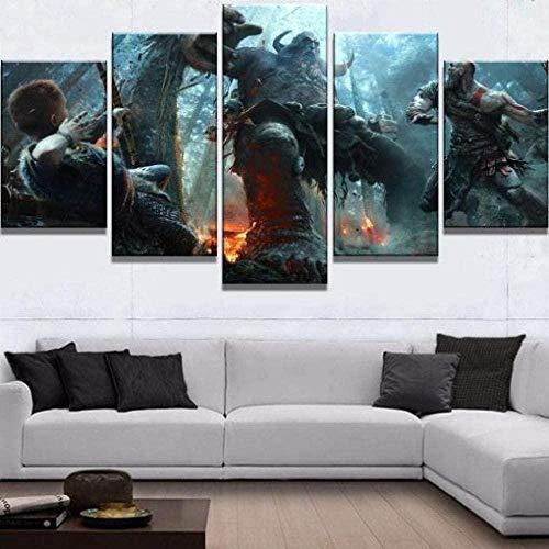 5 piezas cuadro en lienzo Cuadro compuesto por 5 lienzos impresos en HD, utilizados para decoración del hogar y carteles Juego de lucha God of War 4 Kratos y Atrus Boss (150x80cm sin marco)