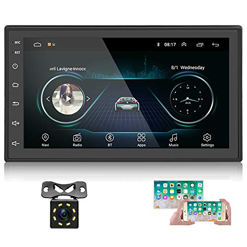 Double Din Android Car Stereo with GPS 7 Inch Capacitance Touch Screen FM Radio Reciever Supports Mirror Link for iOS/Android Phones WiFi Connect + Backup Camera