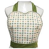 Schürze für Damen, Mädchen, Retro-Design, mit schicker Tasche, Grün - 5