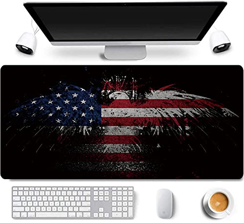 31.5x11.8 Inch American Patriotic Bald Eagle US National Flag Long Extended Large Gaming Mouse Pad with Stitched Edges XL Laptop Keyboard Mouse Mat Desk Pad