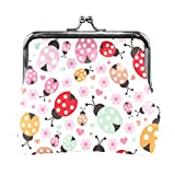 BGHYT Cute Colorful Ladybug Polka Dot Coin Purse Retro Money Pouch with Lock Buckle Wallet Bag Tarjetero para Mujeres y niñas