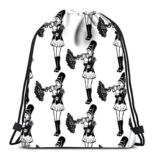 BOUIA Kordelzug Taschen Rucksack Mädchen Trompete Creative Tattoo Travel Gym Taschen Rucksack Umhängetaschen