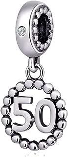 16,17,18,19,20,21,22,30,40,50,60 Number Bracelet Charms, 925 Sterling Silver Pendants Beads Fit Pandora Charm Bracelets, Necklace, Dangling Dangle Charm for Birthday