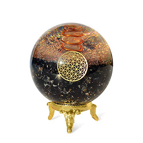 Orgonite Crystal Black Tourmaline Crystal Ball with Stand for Energy Purification and EMF Protection – Channels Positive Vibrations for Healing Connection between Body, Mind and Spirit