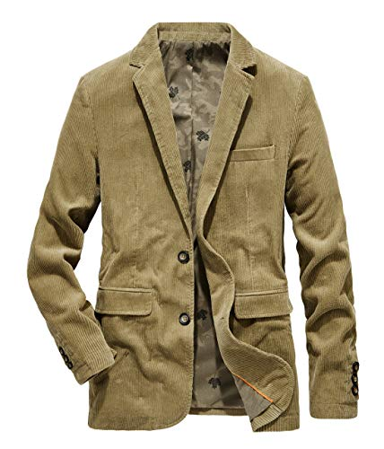 chouyatou Men's Vintage Casual Work Wear Corduroy Suit Blazer Jacket Sport Coat (X-Large, Khaki)