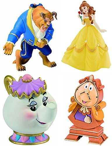 Bullyland Beauty and the Beast Belle Cogsworth Mrs Potts Playset 4 Figures by Bullyland