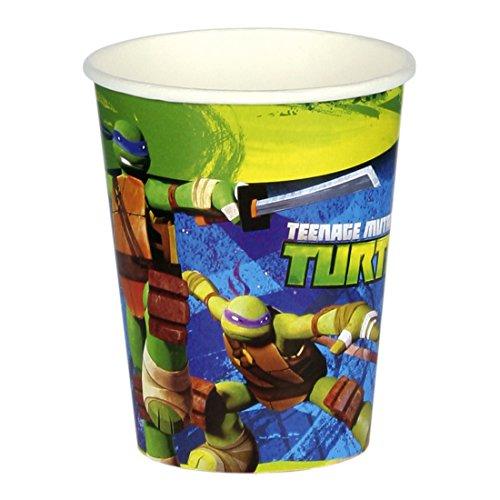 Verres en Carton Anniversaire d'enfant 8 gobelets Tortues Ninja 266 ML Gobelets de fête Tasses jetables Ninja Turtles décoration d'ambiance fêtes pour Les Petits Vaisselle jetable fête garçon