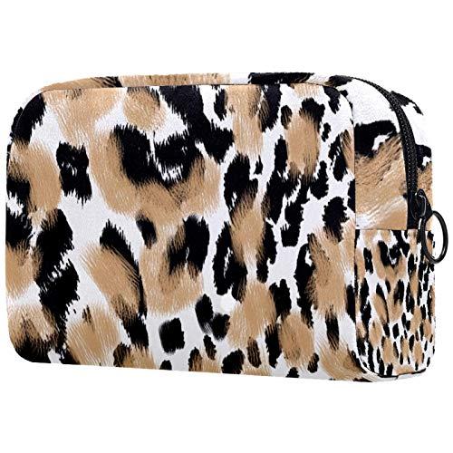 Bolsa de maquillaje para mujer y niña, bolsa organizadora de artículos de aseo con cremallera 19 x 7 x 12 cm, textura de leopardo