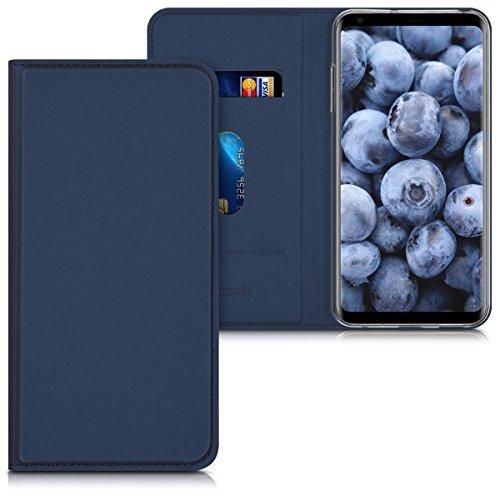 kwmobile LG V30 / V30S / V30+ / V30S+ Hülle - Flip Handy Schutzhülle - Cover Case Handyhülle für LG V30 / V30S / V30+ / V30S+ - Dunkelblau