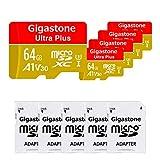 【5年保証 】Gigastone Micro SD Card 64GB マイクロSDカード A1 V30 5 Pack 5 SD アダプタ付き w/adaptor UHD 4K ビデオ録画 高速 4K Nintendo Switch 動作確認済 95MB/s マイクロ SDXC UHS-I U3 C10 Class 10 メモリーカード