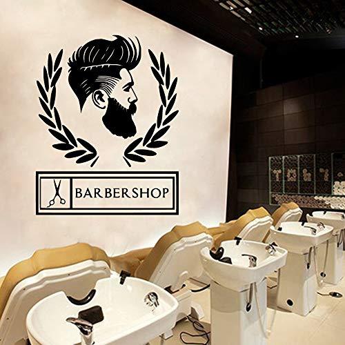 jiushizq Moderne Friseursalon Vinyl Wand Stickersfor Barber Shop Dekorative Wandtattoos Abnehmbare Dekoration Aufkleber Wandbild Schwarz M 43 cm X 54 cm