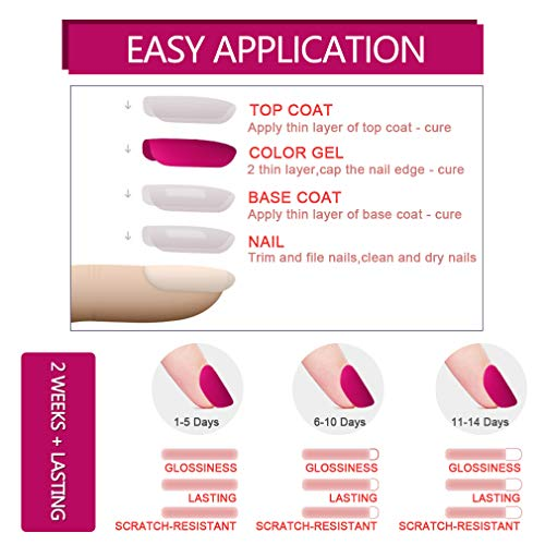Elite99 Esmaltes Semipermanentes de Uñas en Gel UV LED de Color Neon, 2pcs Kit de Esmaltes de Uñas 7,3ml (Base y top coat)