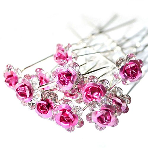 Outflower 20Pcs Femmes Bridal Clear Crystal Rhinestone Rose Flower Clips de Cheveux Accessoires pour Cheveux Jewelry Hairpins (Vert, Style-A)