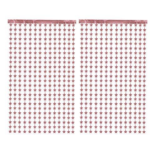 CozofLuv 2 Packung Metallic Tinsel Vorhänge, Folie Fringe Schimmer Vorhang Tür Fenster Dekoration für Geburtstag Hochzeit (Rose gold Stern)