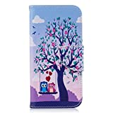 Huawei P9 Lite Case, Bear Village Painted Pattern Premium PU Leather Magnetic Wallet Case Cover with Kickstand and Card Holder ID Slot for Huawei P9 Lite (#2 Tree)