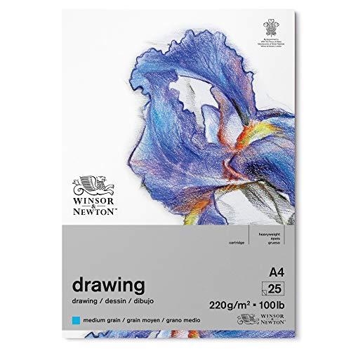 Winsor & Newton 6689747 Zeichenpapier im Block - 25 Blatt A4, 220g/m², mittlere Körnung, natürliches Weiß, säurefrei, Alterungsbeständig, Ideal für Bleistift, Buntstift, Pastell und Kohle